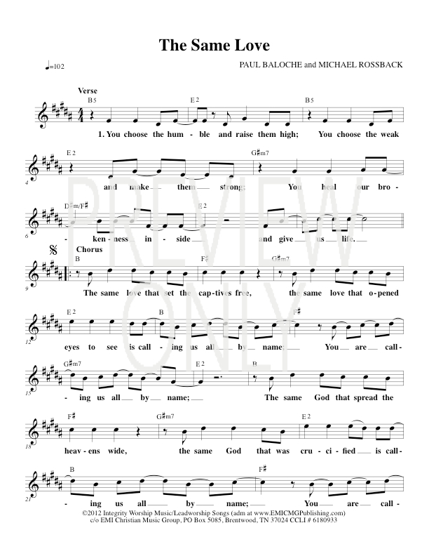 The Same Love Lead Sheet Lyrics Chords Paul Baloche