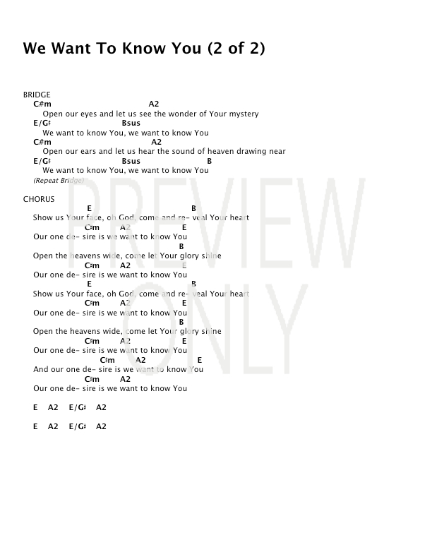 We Want To Know You Lead Sheet Lyrics Chords Dustin Smith