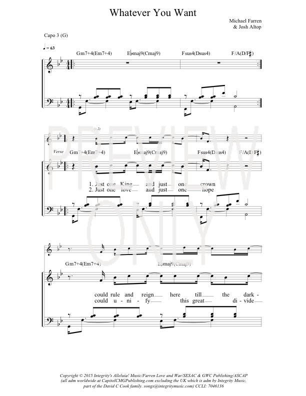 Whatever You Want Lead Sheet, Lyrics, & Chords | Gateway Worship ...