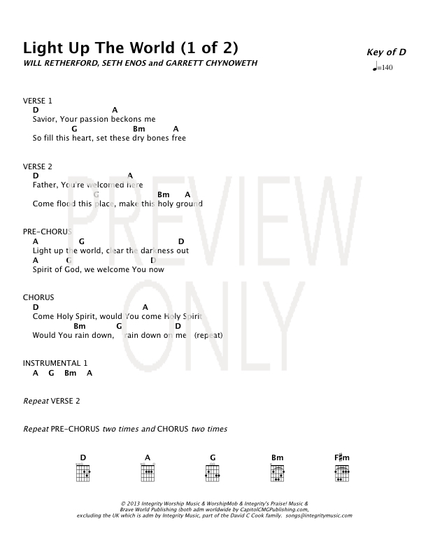 Light Up The World Lead Sheet Lyrics Chords Worshipmob