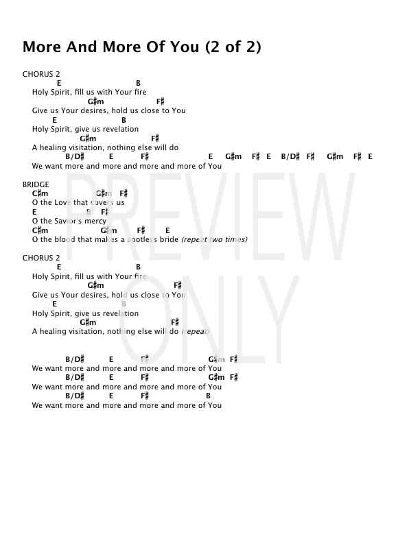 More And More Of You Lead Sheet Lyrics Chords Worshipmob