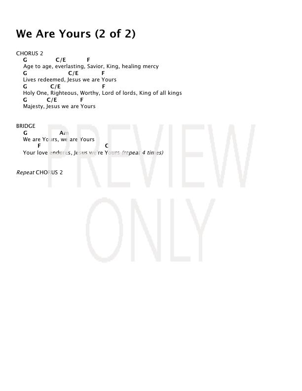 We Are Yours Lead Sheet Lyrics Chords Worshipmob