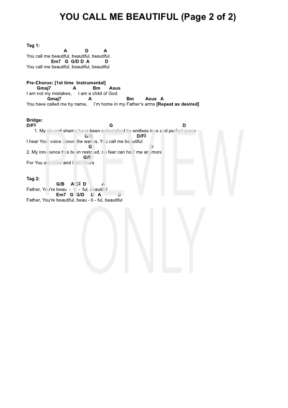 You Call Me Beautiful Live In Melbourne Lead Sheet Lyrics