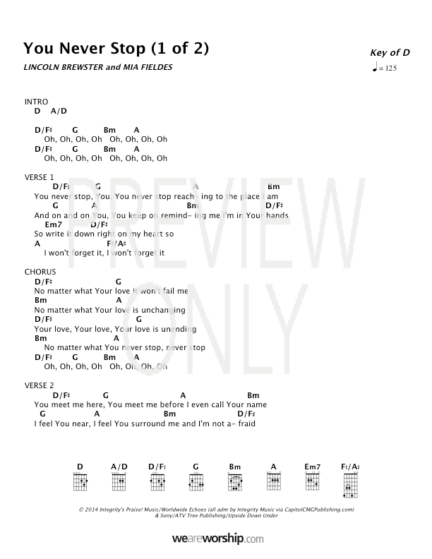 You Never Stop Lead Sheet Lyrics Chords Lincoln Brewster