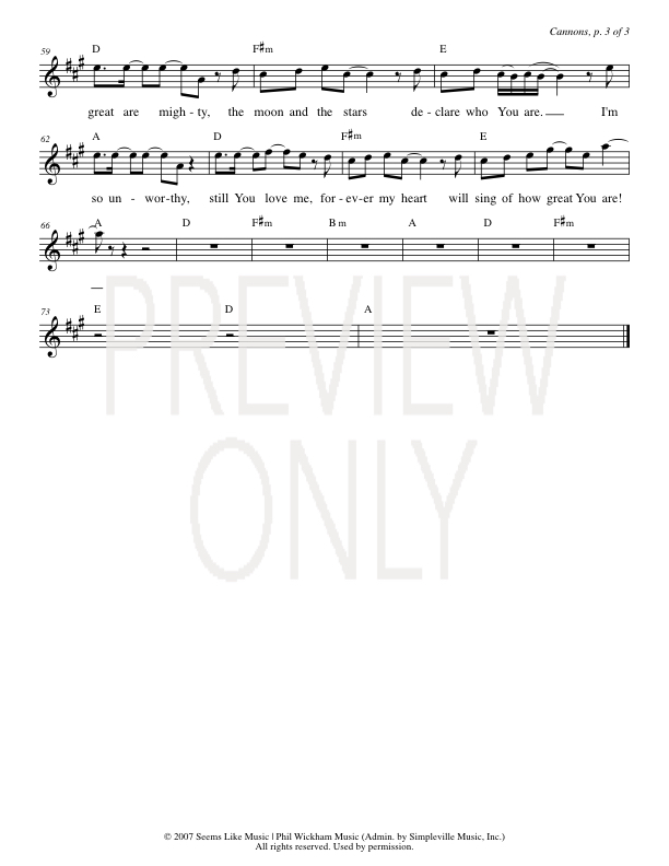 Canons Lead Sheet Lyrics Chords Phil Wickham Worshiphouse Media