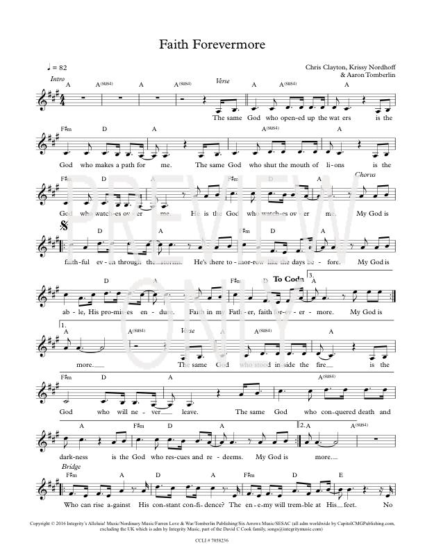 Faith Forevermore Lead Sheet Lyrics Chords Aaron Tomberlin