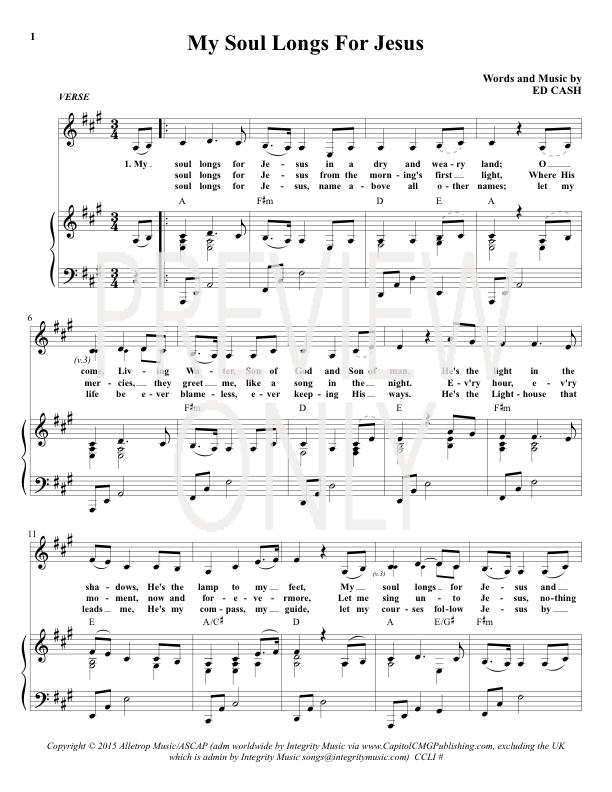 My Soul Longs For Jesus Lead Sheet, Lyrics, & Chords | iWorship ...