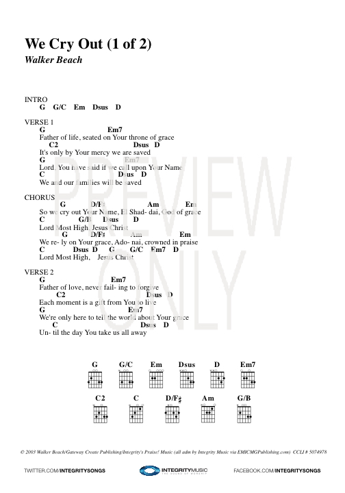 We Cry Out Lead Sheet Lyrics Chords Kari Jobe Worshiphouse Media