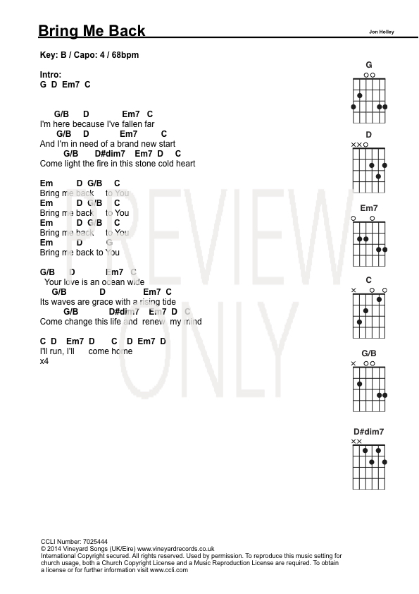 Bring Me Back Lead Sheet Lyrics Chords Vineyard Worshiphouse