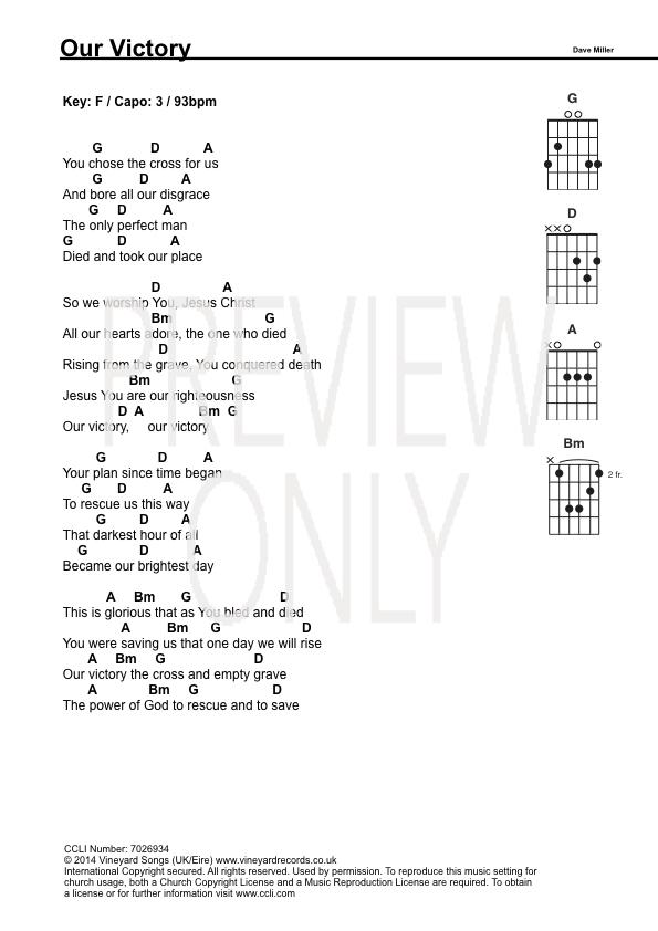 Our Victory Lead Sheet, Lyrics, & Chords   Vineyard   WorshipHouse Media