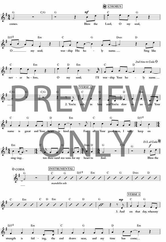 10000 Reasons Lead Sheet Lyrics Chords Matt Redman Worship