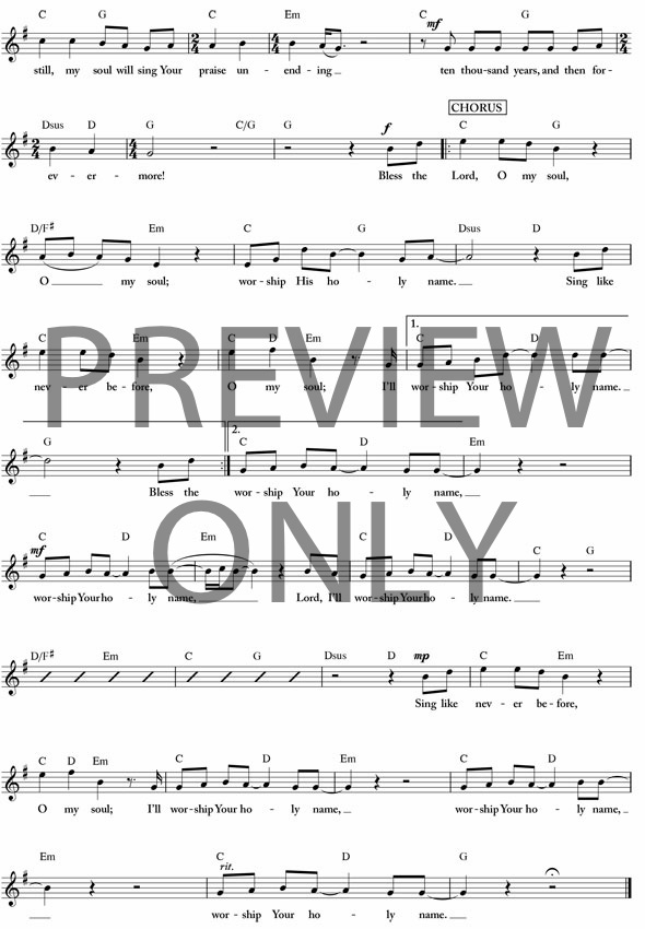 10,000 Reasons Lead Sheet, Lyrics, & Chords | Matt Redman ...