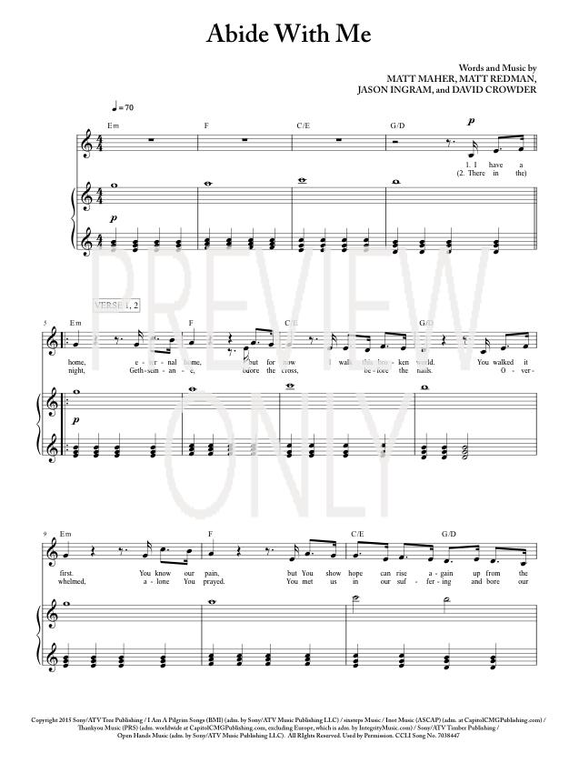 Abide With Me Lead Sheet Lyrics Chords Matt Redman