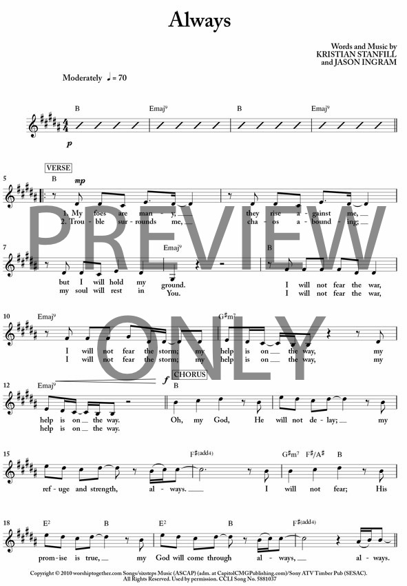 Always Lead Sheet Lyrics Chords Kristian Stanfill Worship