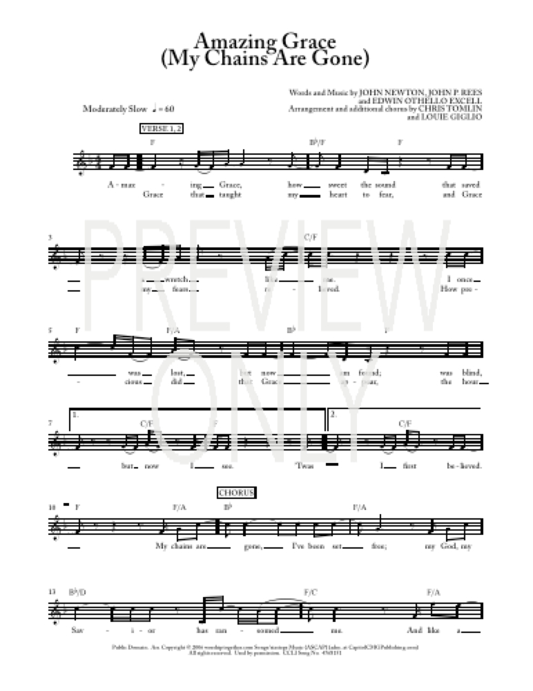 Amazing Grace (My Chains Are Gone) Lead Sheet, Lyrics, & Chords ...