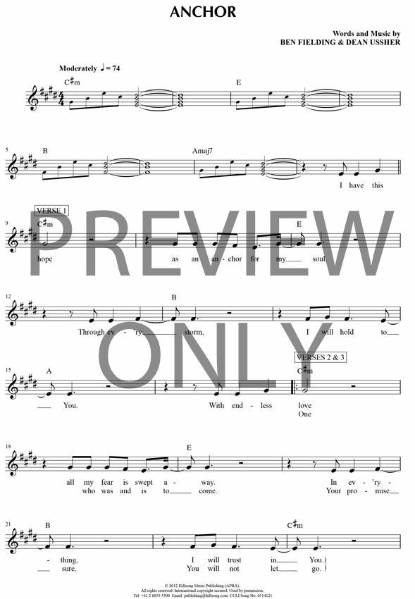 Anchor Lead Sheet Lyrics Chords Hillsong Worship Worship