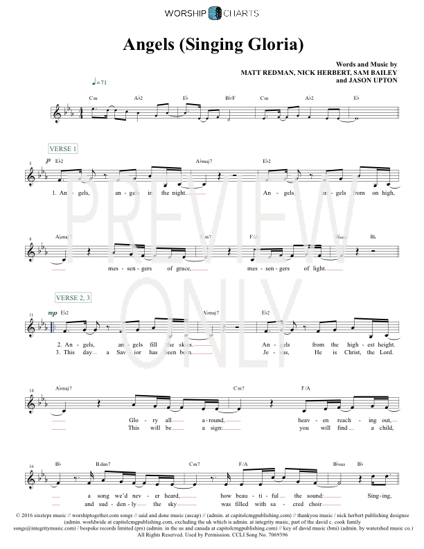 Angels Singing Gloria Lead Sheet Lyrics Chords Matt Redman