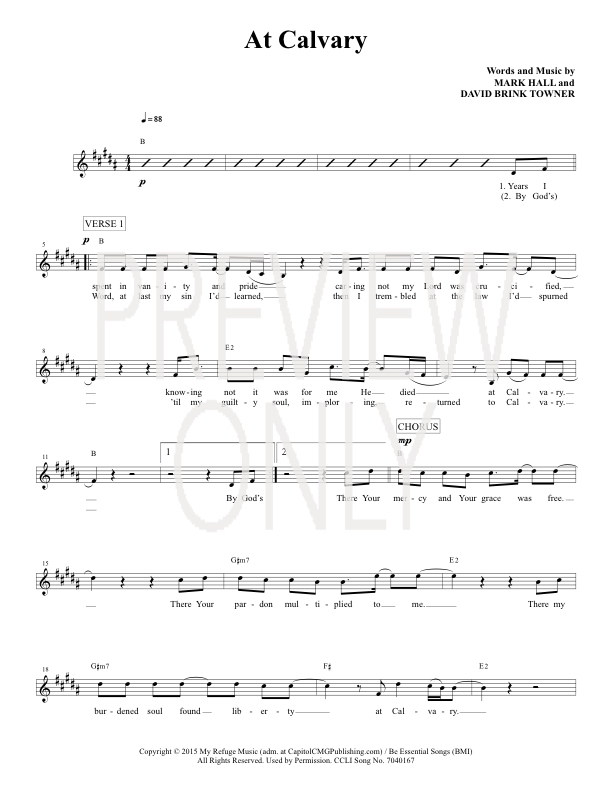 At Calvary Lead Sheet Lyrics Chords Casting Crowns
