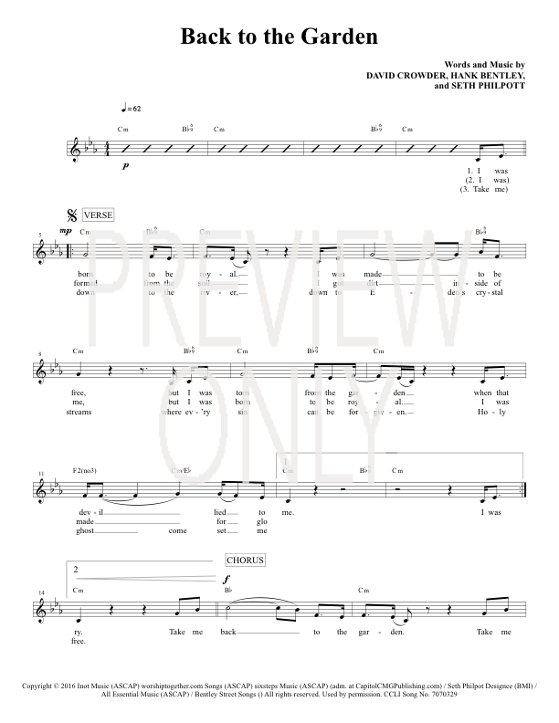 Back To The Garden Lead Sheet, Lyrics, & Chords | Crowder ...
