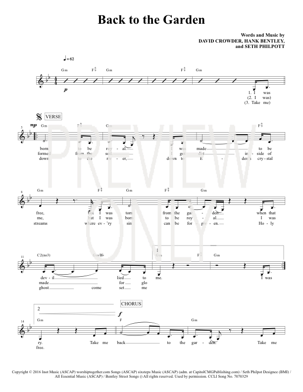 Back To The Garden Lead Sheet Lyrics Chords Crowder