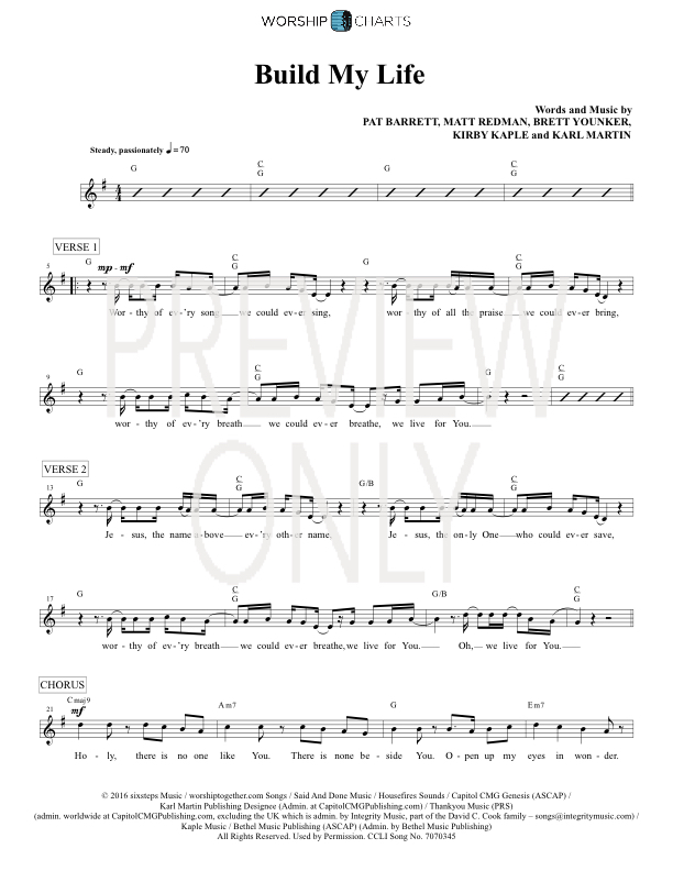 Build My Life Lead Sheet Lyrics Chords Passion Worshiphouse