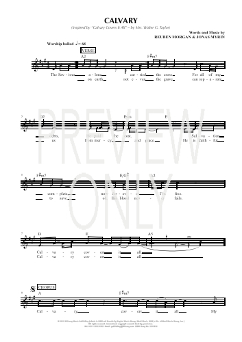 Calvary lead sheet lyrics chords hillsong worship for Vocal house music charts