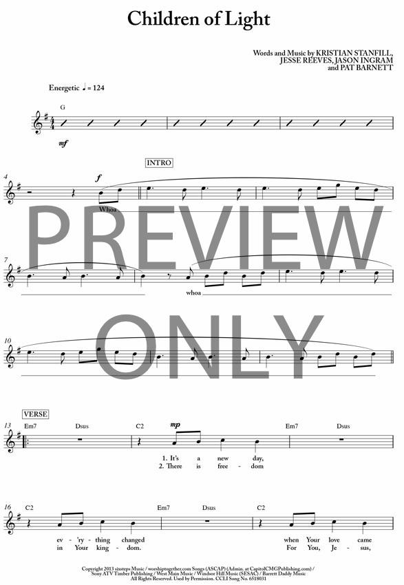 Children Of Light Lead Sheet Lyrics Chords Kristian Stanfill