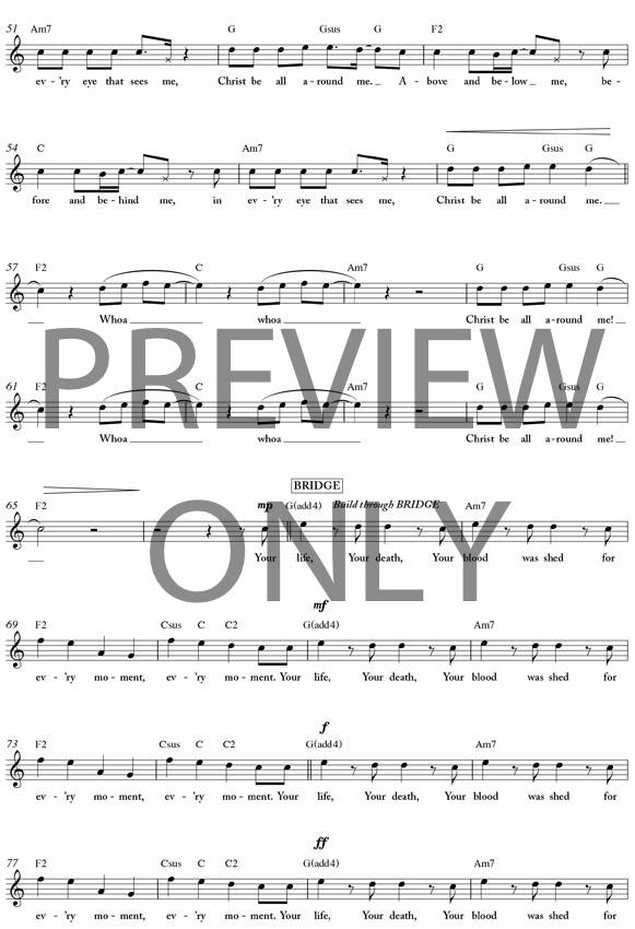 Christ Be All Around Me Lead Sheet Lyrics Chords Michael W