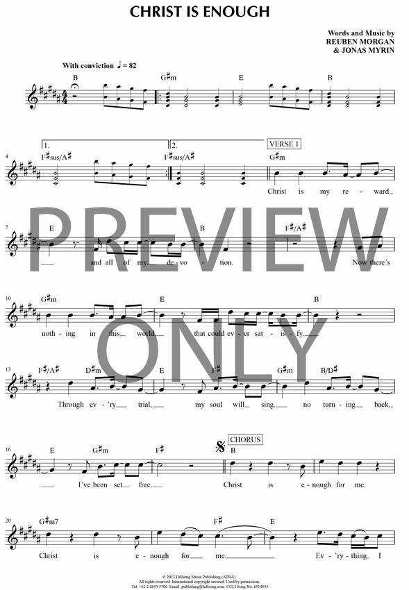 Christ Is Enough Lead Sheet, Lyrics, & Chords | Hillsong Worship ...