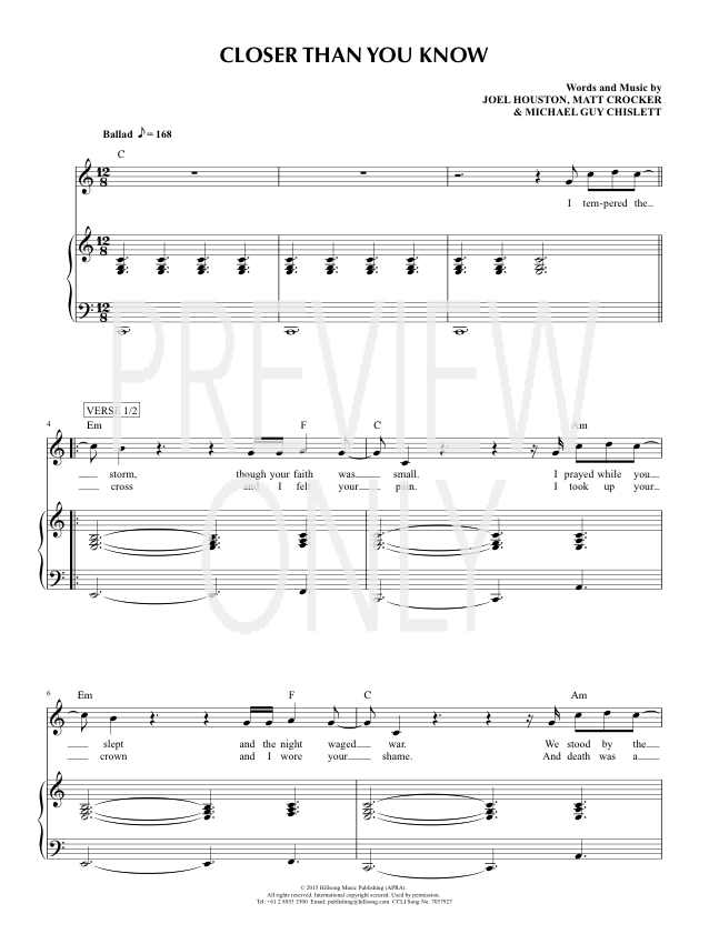 Closer Than You Know Lead Sheet Lyrics Chords Hillsong United