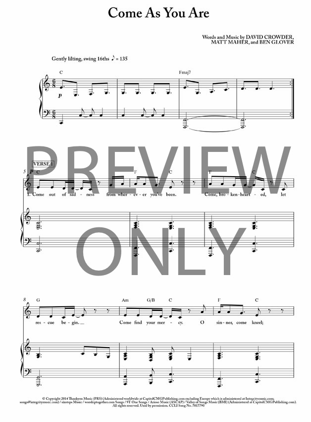 Come As You Are Lead Sheet Lyrics Chords Passion