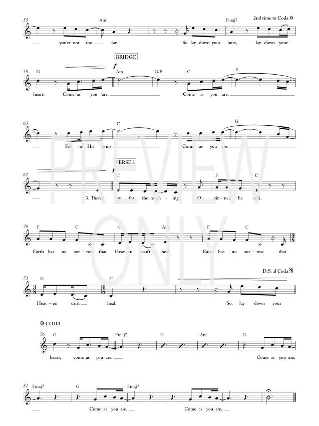 Come As You Are Lead Sheet Lyrics Chords Crowder
