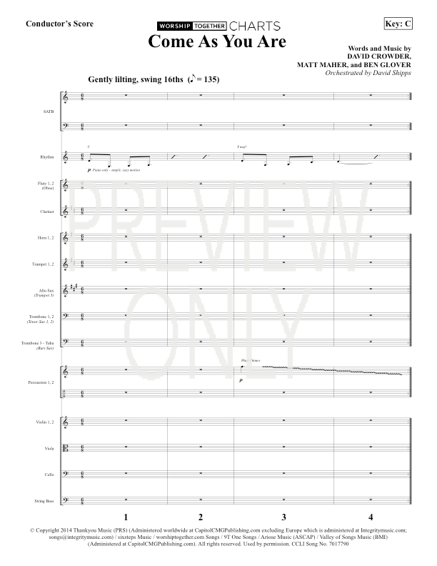 Come As You Are Lead Sheet, Lyrics, & Chords | Crowder ...