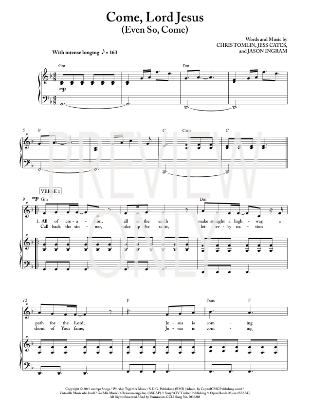 Come, Lord Jesus Lead Sheet, Lyrics, & Chords | Passion ...