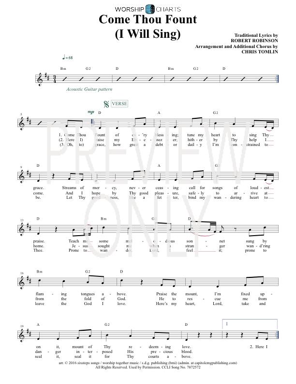 Come Thou Fount I Will Sing Lead Sheet Lyrics Chords Chris