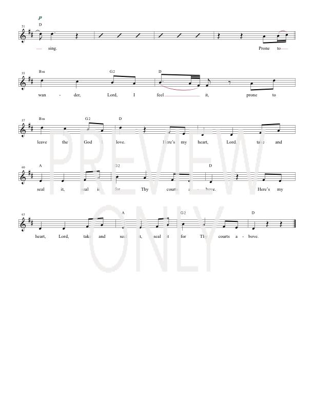 Come Thou Fount (I Will Sing) Lead Sheet, Lyrics, & Chords | Chris ...