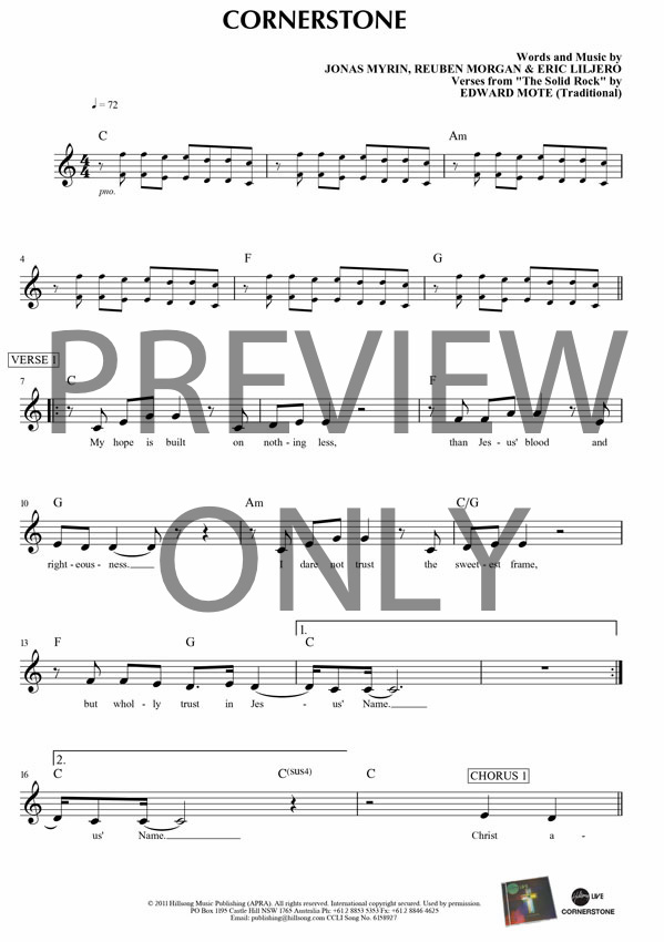 Cornerstone Lead Sheet Lyrics Chords Hillsong Worship