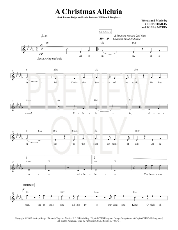 A Christmas Alleluia Lead Sheet Lyrics Chords Chris Tomlin