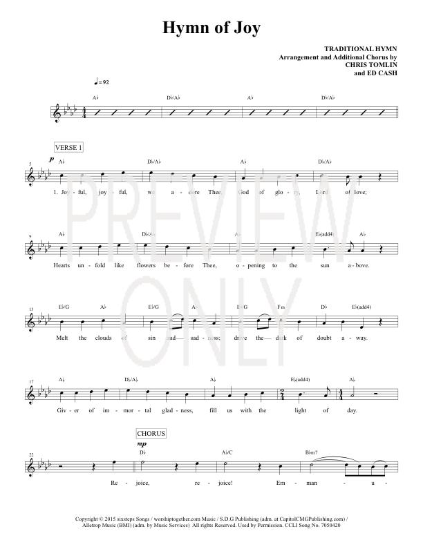 Hymn Of Joy Lead Sheet Lyrics Chords Chris Tomlin