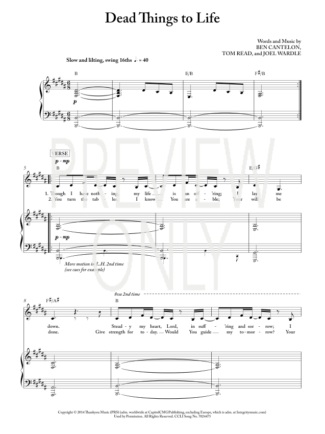 Dead things to life lead sheet lyrics chords worship for Vocal house music charts