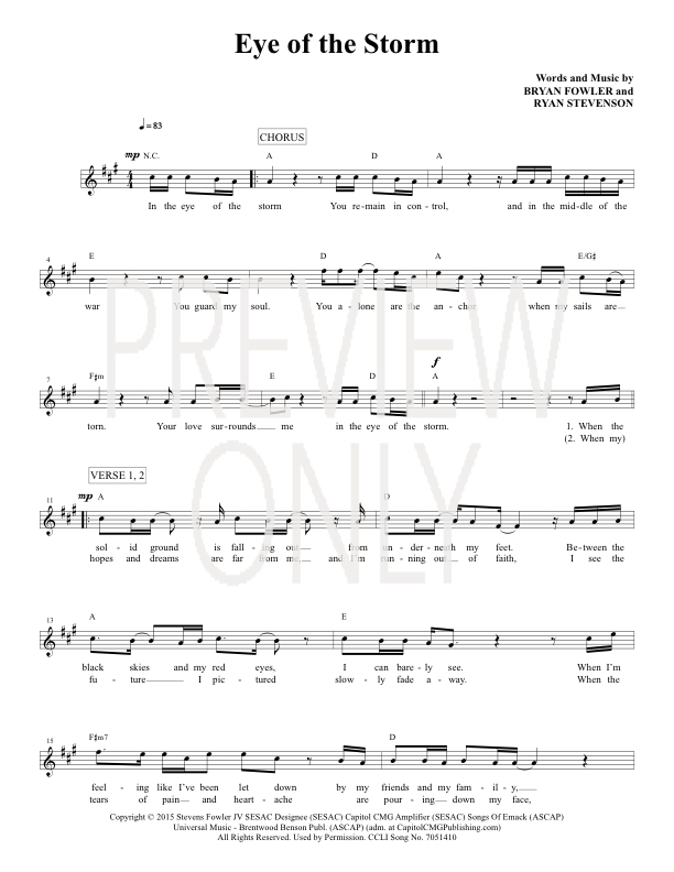Eye Of The Storm Lead Sheet Lyrics Chords Ryan Stevenson