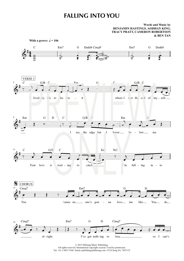 Falling Into You Lead Sheet Lyrics Chords Worship Together