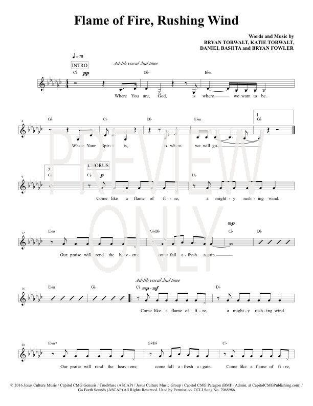 Flame Of Fire Rushing Wind Lead Sheet, Lyrics, & Chords | Bryan and ...