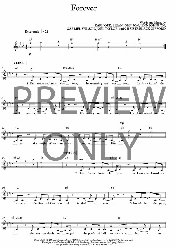 Forever Lead Sheet Lyrics Chords Kari Jobe Worshiphouse Media