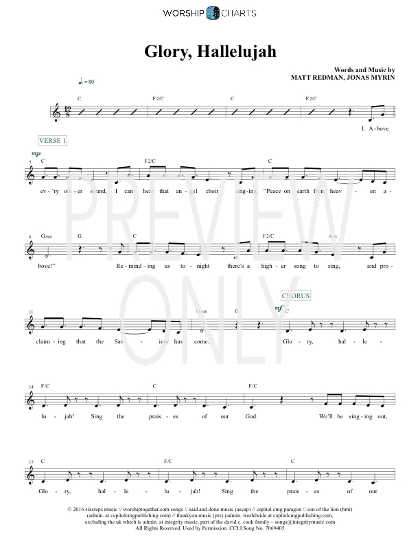 Lyric hallelujah square lyrics : Glory Hallelujah Lead Sheet, Lyrics, & Chords | Matt Redman ...