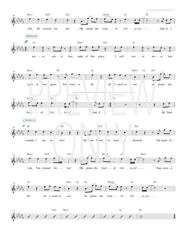 God Of Calvary Lead Sheet Lyrics Chords Chris Tomlin