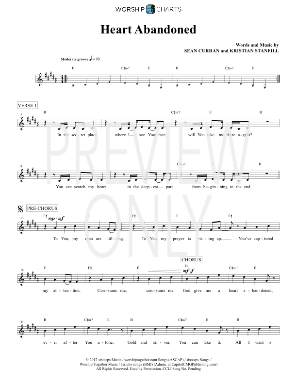 Heart Abandoned Lead Sheet, Lyrics, & Chords | Passion ...