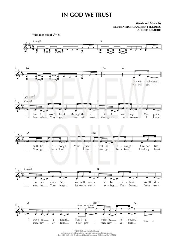 In God We Trust Lead Sheet Lyrics Chords Hillsong Worship