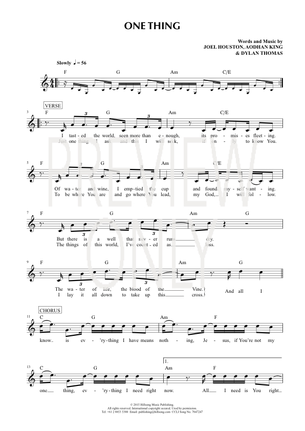 One Thing Lead Sheet Lyrics Chords Hillsong Worship