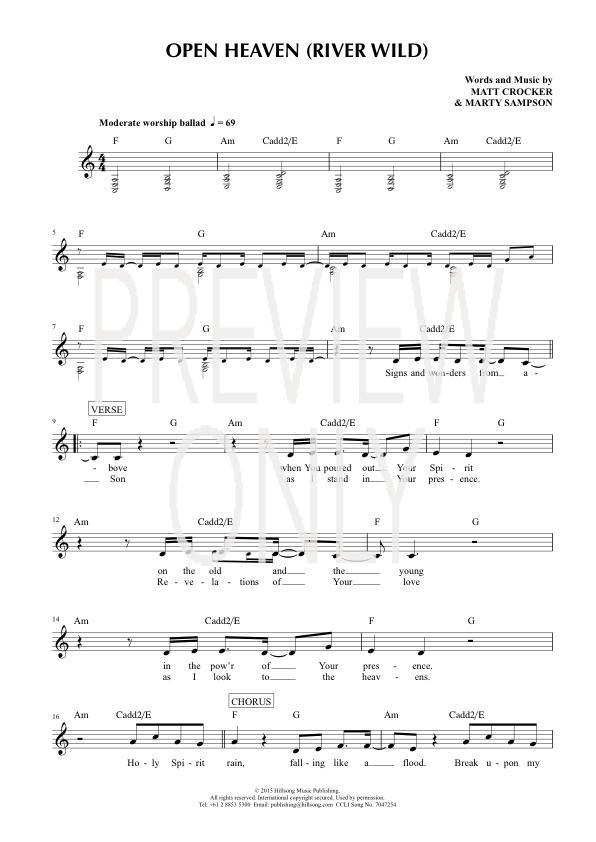 Open Heaven (River Wild) Lead Sheet, Lyrics, & Chords   Hillsong ...